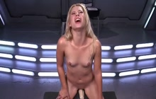 Dirty blonde playing with sex machines
