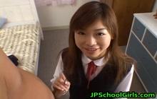 Schoolgirl giving a handjob