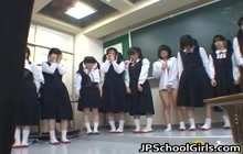 Asian students in the classroom getting punished