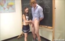 Schoolgirl jerks off her professor