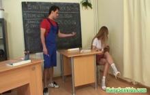 Naughty schoolgirl fucked hard in the classroom