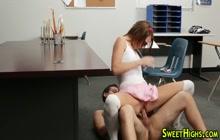 Naughty schoolgirl takes her professor's dick