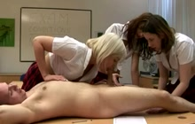 Great CFNM blowjob in the classroom