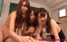 3 Japanese girls make teacher happy