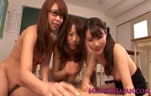 3 Japanese girls make teacher happy