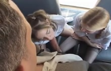 Schoolgirls bus threesome