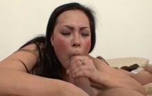 Hard fucking with busty Asian schoolgirl