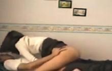 Naughty teen couple fucking on camera