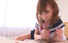 Japanese teen in school uniform riding a dick