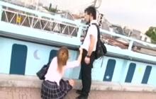 Japanese schoolgirl stroking my cock