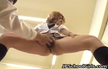 Japanese schoolgirl gets her pussy rubbed